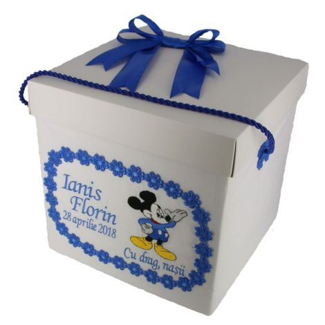cutie trusou botez Mickey Mouse albastru