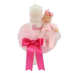 lumanare botez papusa somnoroasa sfera tull, roz, 40 cm