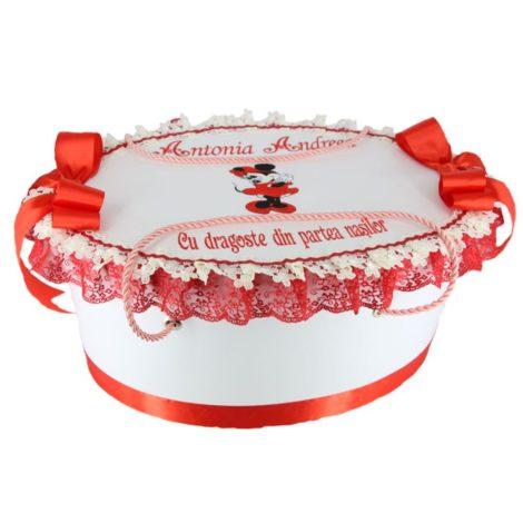 cutie personalizata botez Minnie Mouse alb-rosu