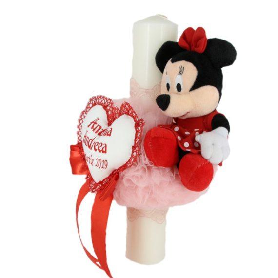 """Lumanare botez personalizata """"Minnie Mouse"""" sfera tull, alb-rosu, 40 cm"""