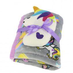 paturica bebe plush tema unicorn gri