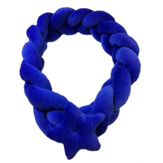 Protectie impletita patut cu accesoriu steluta, albastru, 200 x 20 cm