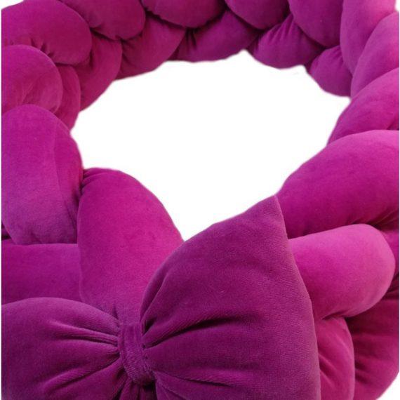 Protectie impletita patut cu accesoriu fundita, roz ciclam, 200 x 20 cm