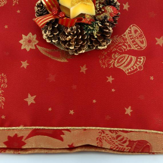 """Traversa decorativa masa de Craciun """"clopotei"""", rosu-auriu, 45×145 cm"""
