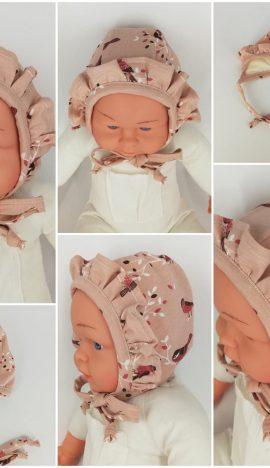 """Caciulita nou-nascut dublata, tematica """"pasarele"""" cu volanas, roz"""