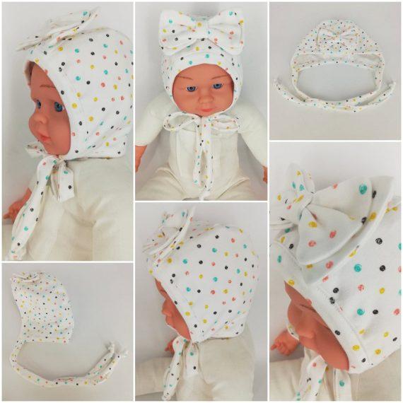 """Caciulita nou-nascut dublata, tematica """"buline multicolore"""" cu fundita, alb"""