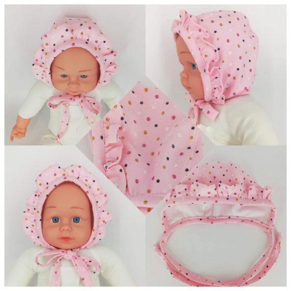 """Caciulita nou-nascut dublata, tematica """"buline multicolore"""" cu volanas, roz, 0-3 luni"""
