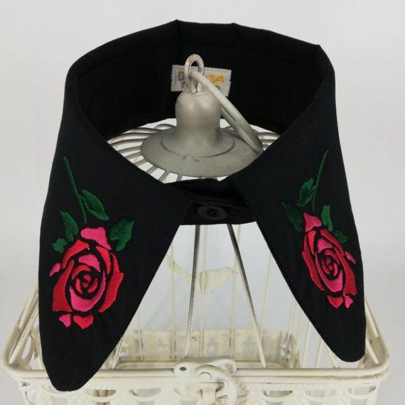 """Guler dama brodat detasabil din bumbac, tematica """"trandafir rosu"""", negru, M-L"""
