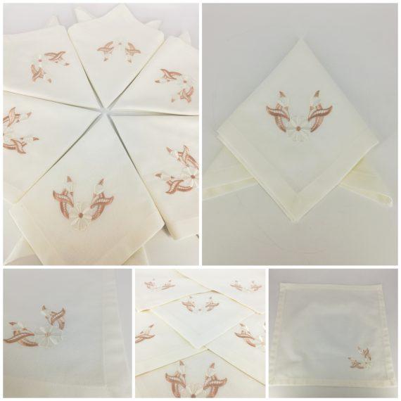 """Set 6 servete bumbac personalizate, tematica """"florala"""" 40×40 cm, alb-bej"""