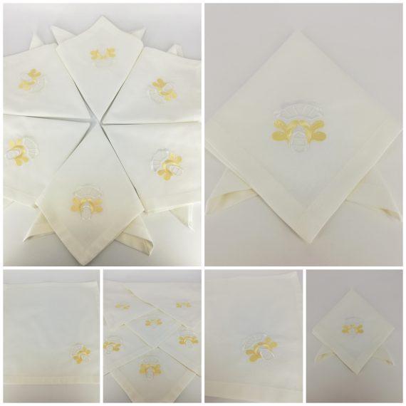 Set 6 servete bumbac personalizate, broderie ornament, 40×40 cm, alb-auriu