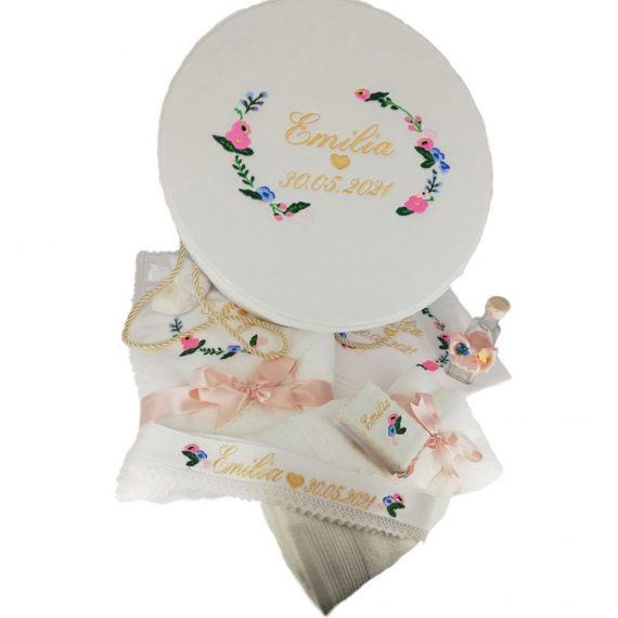 """Set trusou botez fetite + cutie rotunda """"tematica florala"""", multicolor, 8 piese"""