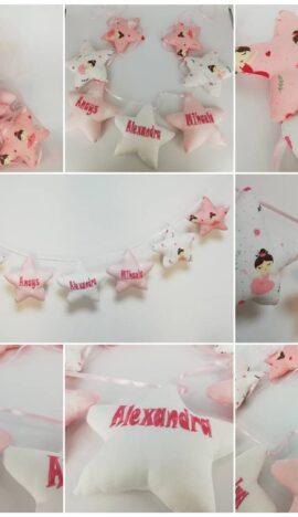 Ghirlanda decor stelute personalizate din bumbac, imprimeu fetite, alb-roz