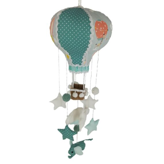 Balon de aer tip carusel handmade, tematica elefanti, multicolor-verde menta