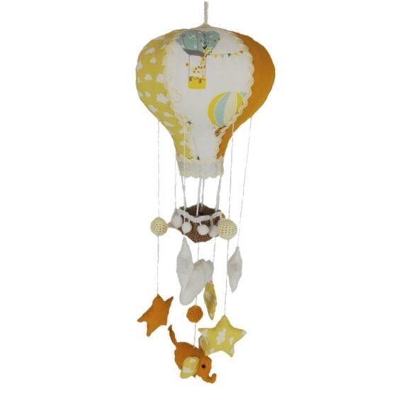 Balon de aer tip carusel handmade, tematica elefanti, multicolor- galben