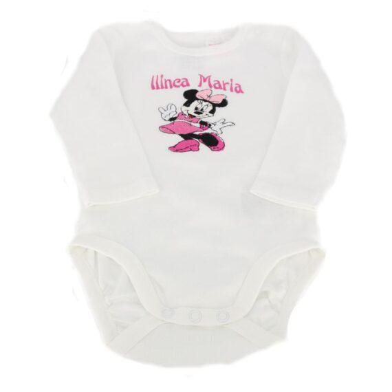 Body personalizat fetita, tematica Minnie Mouse, roz